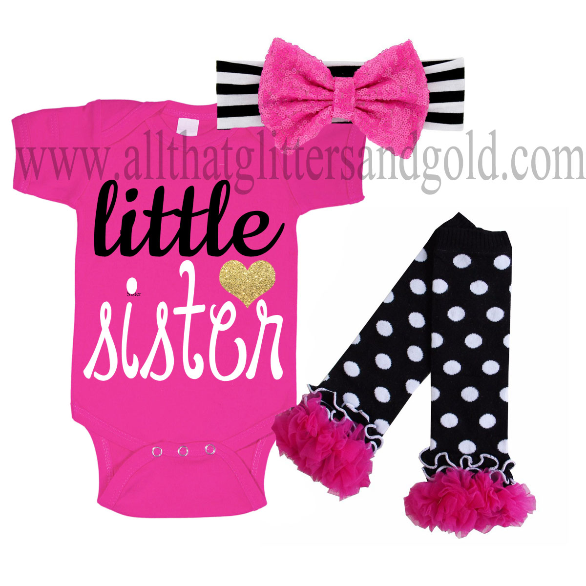 Hot Pink, Black and Gold Little Sister Baby Girl Outfit