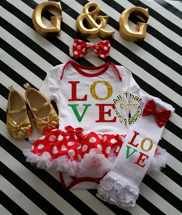 Cute 2 Piece LOVE Christmas Glitter Baby Girl Tutu Dress Outfit