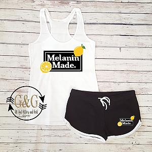Cute Melanin Made Lemonade Summer Shorts Outfit Set For Juniors and Women