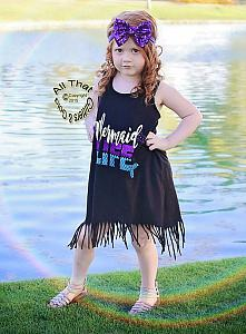 Mermaid Life Glitter Baby Girls and Little Girls Fringe Dress