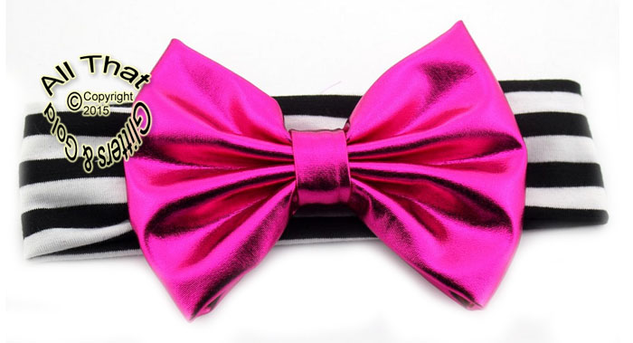 Baby and Little Girls Black and White Striped Hot Pink Metallic 5 Inch Big Bow Headbands