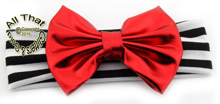 Baby and Little Girls Black and White Striped Metallic Red 5 Inch Big Bow Headbands