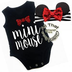 2 Pc Black, White and Red Glitter Mini Mouse Girls Outfit