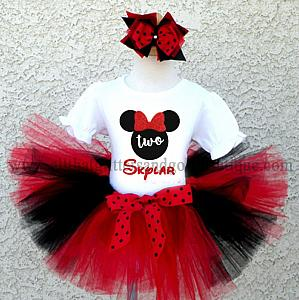 Black, Red and White Minnie Inspired Birthday Tutu Outfit For All Ages