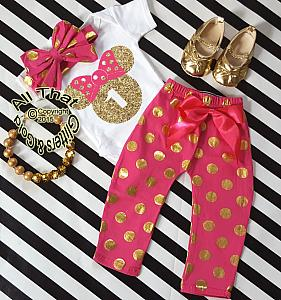 Hot Pink and Gold Minnie Birthday Pants Outfits For One Year Old