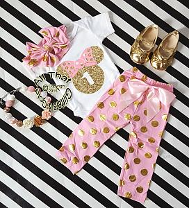 Pink and Gold Minnie Birthday Pants Outfits For One Year Old