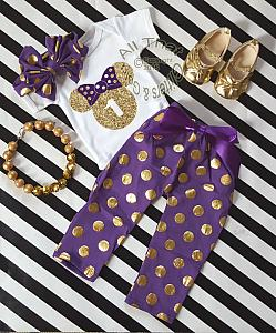 Purple and Gold Minnie Birthday Pants Outfits For One Year Old