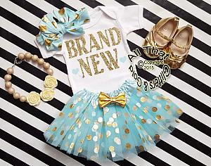 Mint and Gold Brand New Newborn Coming Home From Hospital Outfit