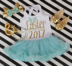 Mint and Gold Glitter 2pc Easter 2017 Tutu Dresses For Toddler Girls Age 1-4