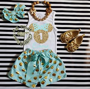 Personalized Mint and Gold Minnie Birthday Shorts Outfits For Toddlers