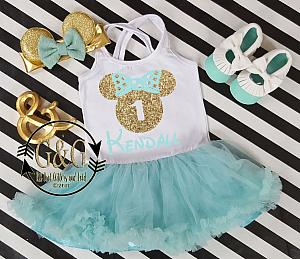 Mint and Gold Personalized Glitter 2pc Mouse Tutu Dresses For Toddler Girls Age 1- 3