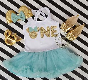 Mint and Gold Glitter 2pc Minnie One Year Old Birthday Tutu Dresses For Toddler Girls
