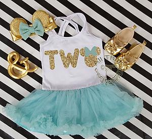 Mint and Gold Glitter 2pc Minnie Two Year Old Birthday Tutu Dresses For Toddler Girls