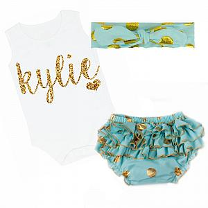 Cute Mint and Gold Personalized Baby Girl Polka Dot Ruffled Bloomer Outfit