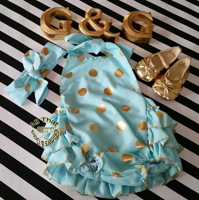 Cute Mint and Gold Polka Dot Baby and Little Girl Ruffle Romper