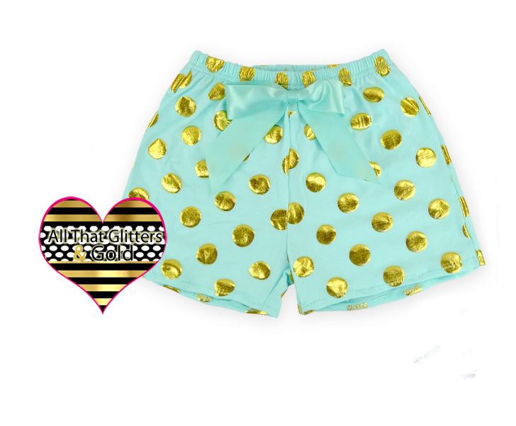 Mint and Gold Metallic Polka Dot Girls Summer Shorts