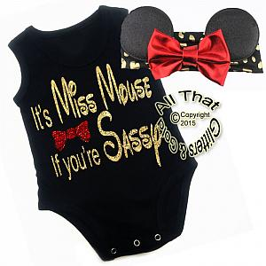 2 Pc Black, Red and Gold Glitter Miss Mouse If You're Sassy Girls Outfit