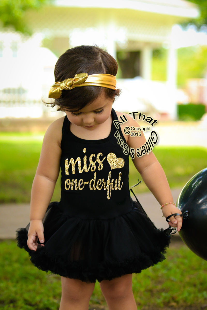 Glitter and Sparkly Miss One-derful First Year Birthday Tutu Dresses For Baby Girls
