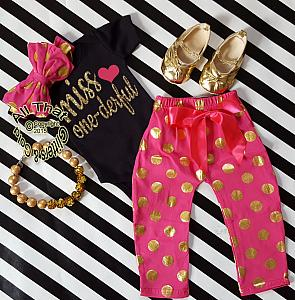 Pink, Black and Gold Polka Dot Miss One-derful One Year Birthday Outfits For Baby Girls