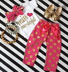 Hot Pink and Gold Polka Dot Miss One-derful One Year Birthday Outfits For Baby Girls