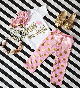 Pink and Gold Polka Dot Miss One-derful One Year Birthday Outfits For Baby Girls