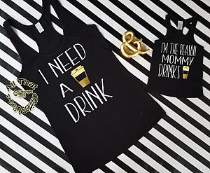Funny Handmade Matching Mommy and Me Coffee Shirts