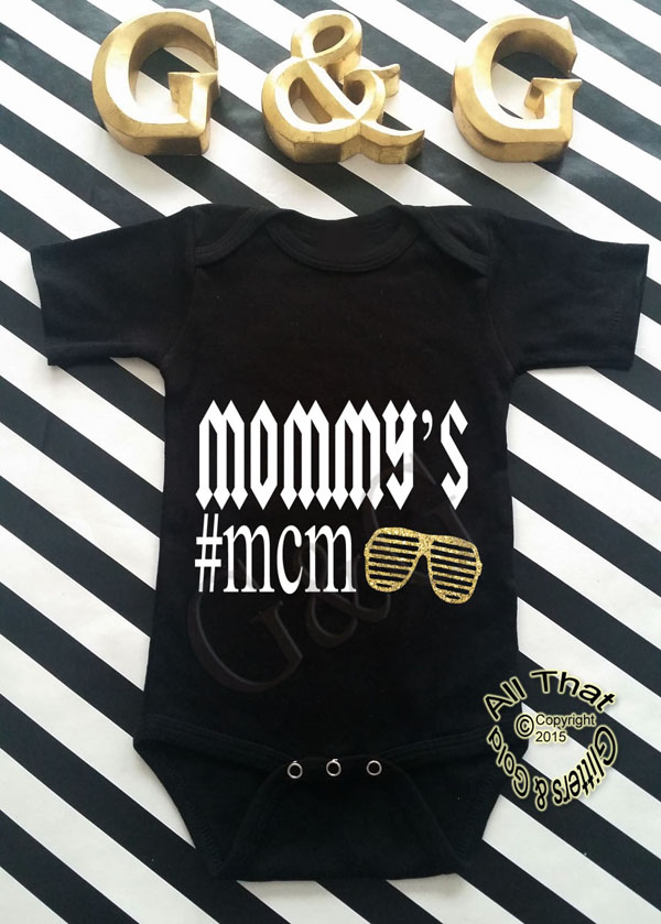 Black and Gold Glitter Mommy's #MCM Baby Boy Shirt