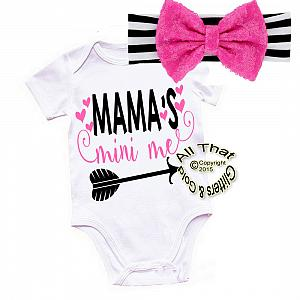 Black, Hot Pink and White Mama's Mini Shirt or Outfit For Girls