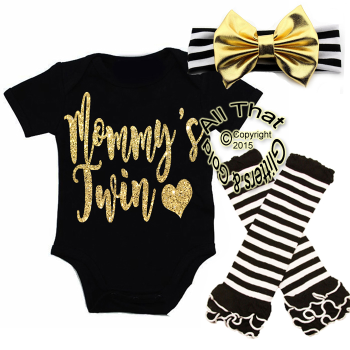 Black, White and Gold Glitter Mommy's Twin Baby Girl Outfit