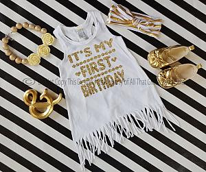 White and Gold It's My First Birthday Dress For Baby Girls