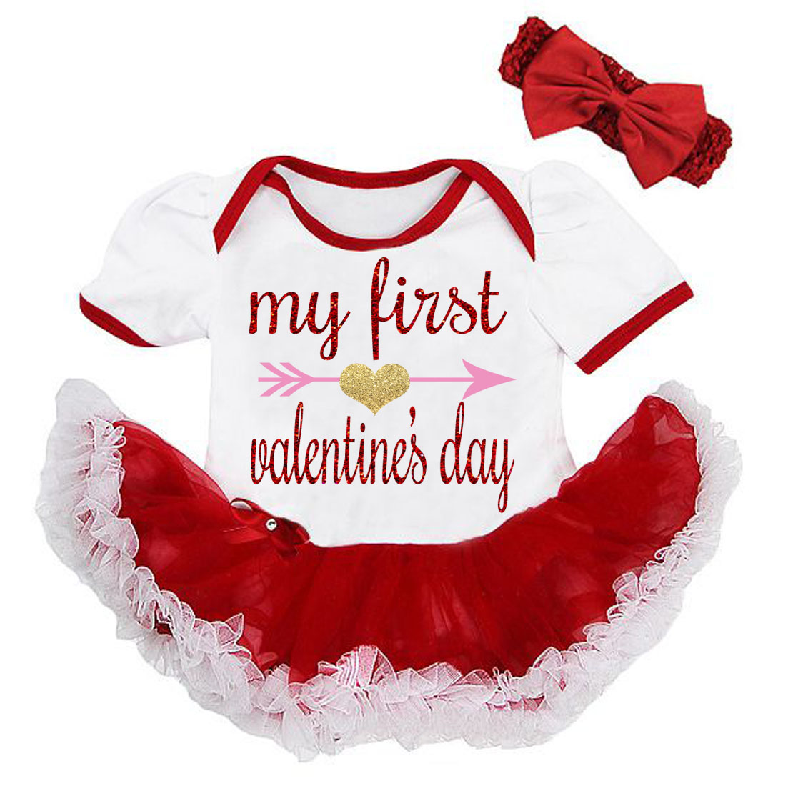 Cute 2 Piece Baby's First Valentine's Day Glitter Baby Girl Tutu Dress Outfit