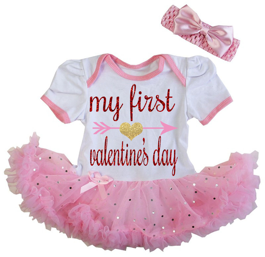 Cute 2 Piece Pink Baby's First Valentine's Day Glitter Baby Girl Tutu Dress Outfit