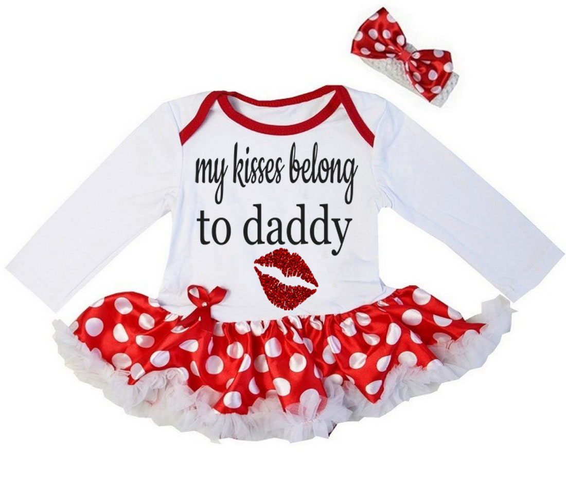 Cute 2 Piece My Kisses Belong To Daddy Valentine's Day Glitter Baby Girl Tutu Dress Outfit
