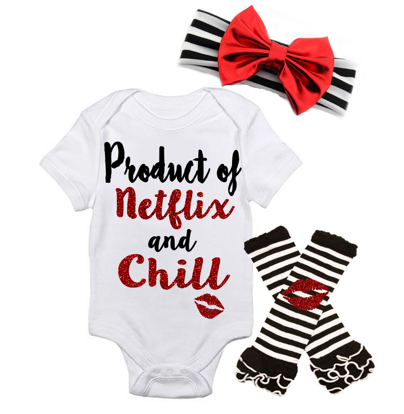 Black and Red Product Of Netflix and Chill Baby Girl Outfit
