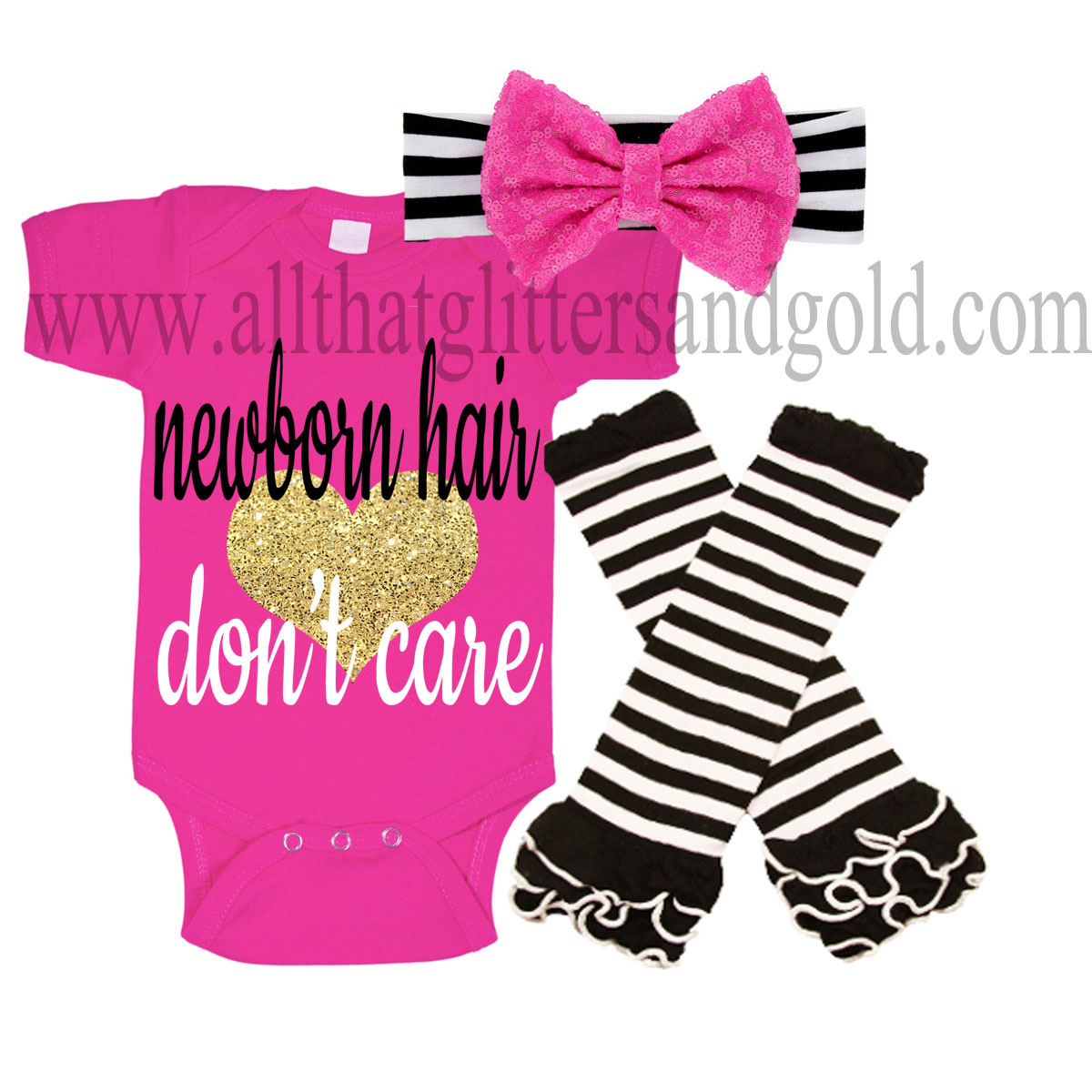 Hot Pink, Black and Gold Newborn Hair Dont Care Baby Girl Outfit