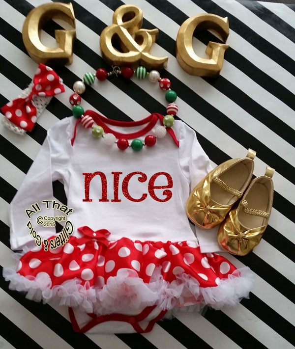 Cute 2 Piece Naughty Christmas Glitter Baby Girl Tutu Dress Outfit