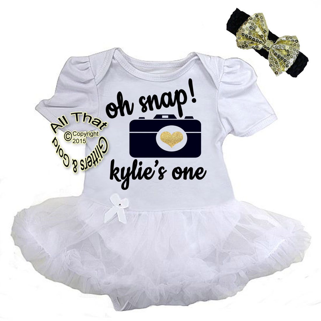 Personalized 2 Piece Black And Gold Glitter Cute Outfits For Baby Girl First Birthday