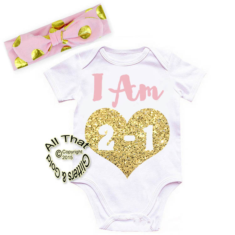 Cute 2 Piece Pink and Gold Glitter Babies 1st Year Birthday Outfits