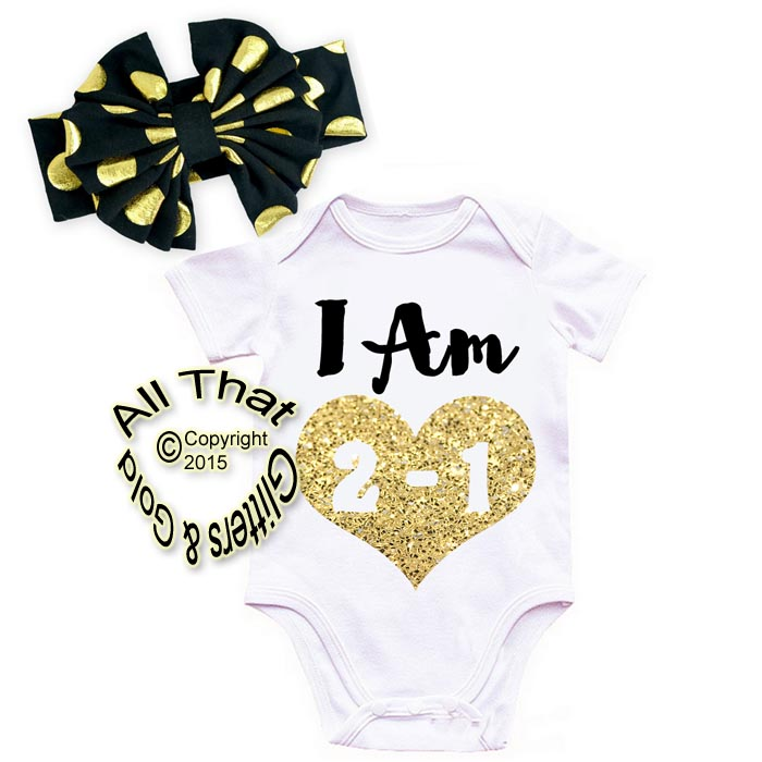 Cute 2 Piece Black and Gold Glitter Babies 1st Year Birthday Outfits
