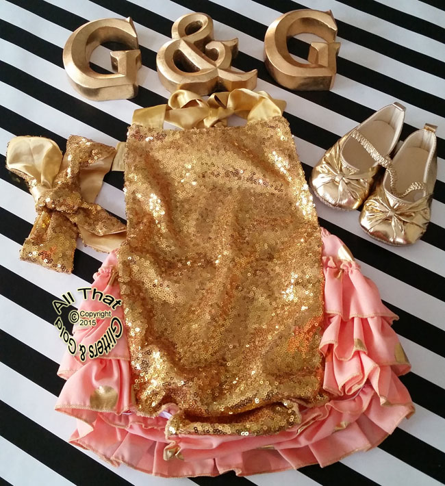 Cute Peach and Gold Sequin Polka Dot Baby and Little Girl Ruffle Romper