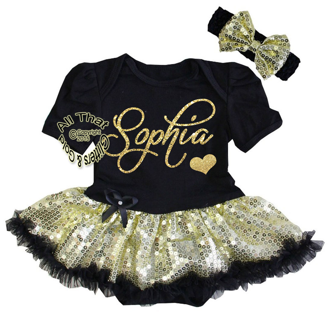 a5c353805bd17 Cute 2 Piece Personalized Black and Gold Baby Girl Coming Home Outfit