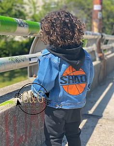 Personalized Basketball Denim Jacket For Babies To Youth