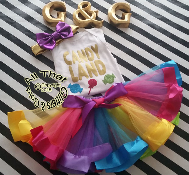 Rainbow Candy Land Girls Birthday Tutu Outfit