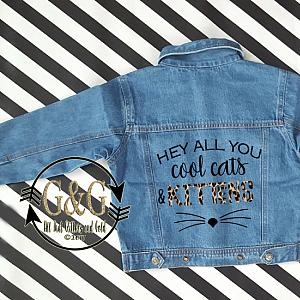 Personalized Cool Cats & Kittens Denim Jacket For Babies To Youth