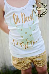 Personalized Oh Deer Mint and Gold Deer Shirt For Girls