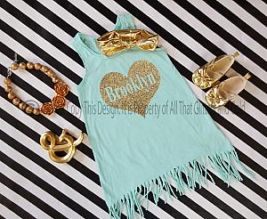 Personalized Mint and Gold Glitter Baby Girls and Little Girls Fringe Dress