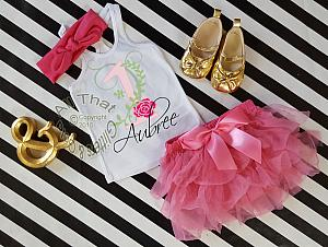 Hot Pink Floral Watercolor Style Birthday Number Outfit With Tutu Bloomers 1-3