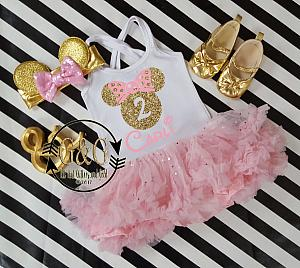 Pink and Gold Personalized Glitter 2pc Mouse Tutu Dresses For Toddler Girls Age 1- 3