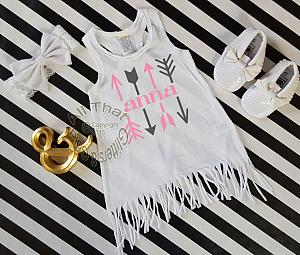 Personalized White, Pink and Grey Arrows Baby Girls and Little Girls Fringe Dress