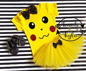Cute Pikachu Birthday Tutu Costume For Baby Girls and Little Girls